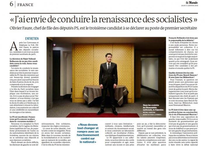 Olivier Faure : « J'ai envie de conduire la renaissance des socialistes »